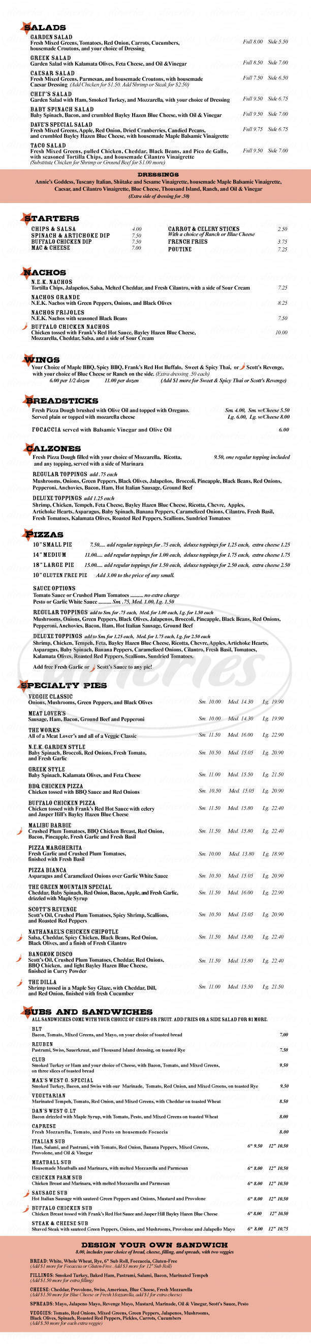 menu for Parker Pie Company