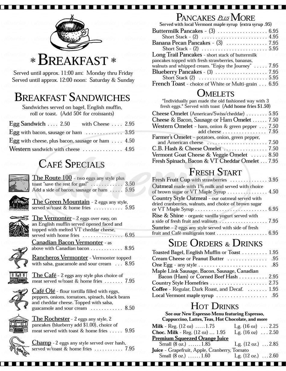 menu for Rochester Cafe