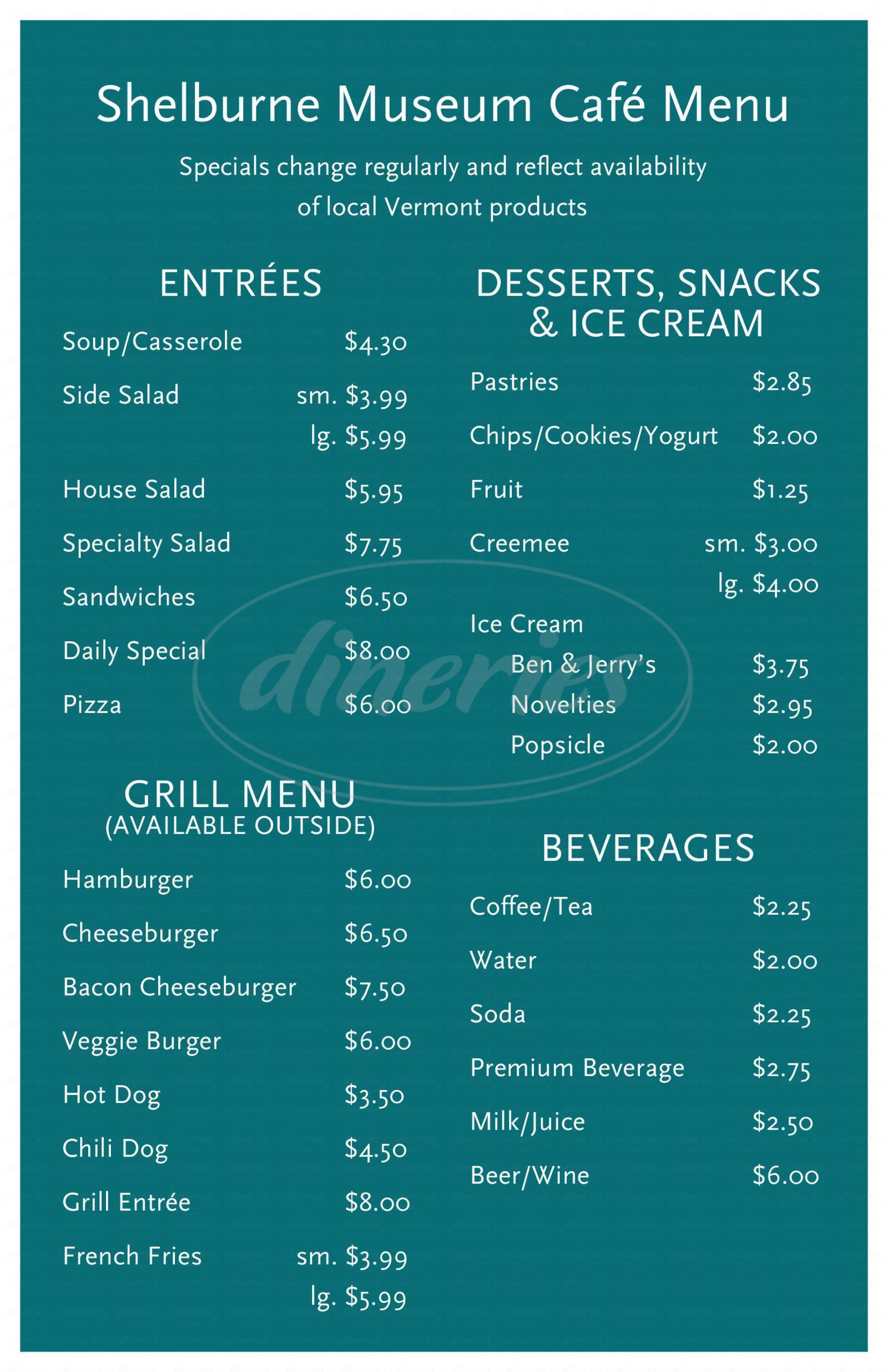 menu for Shelburne Museum Cafe