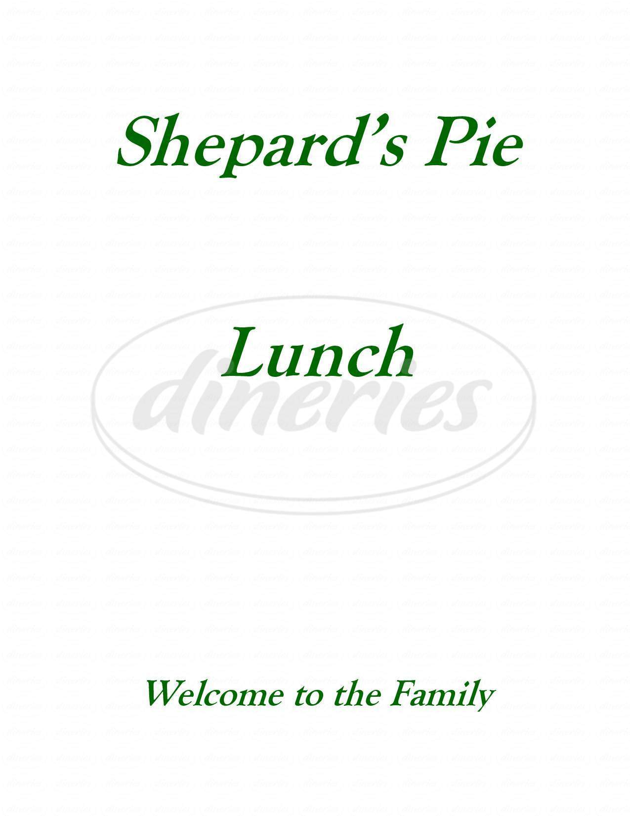 menu for Shepard's Pie on the Green