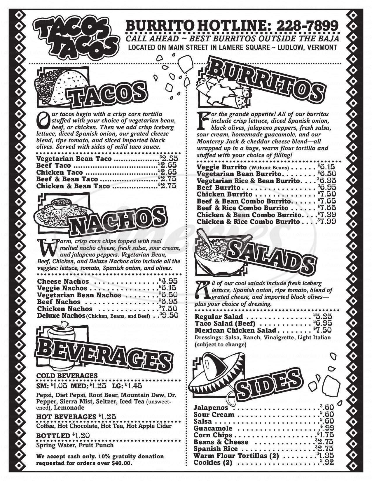 menu for Taco's Taco's