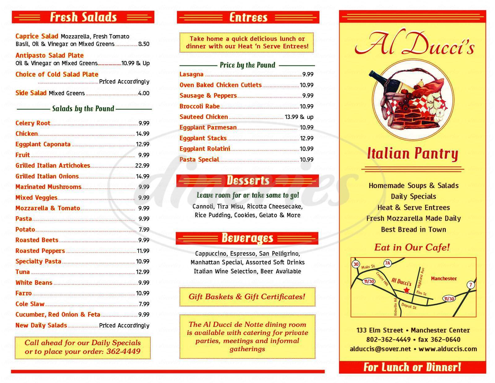 menu for Al Ducci's Italian Pantry