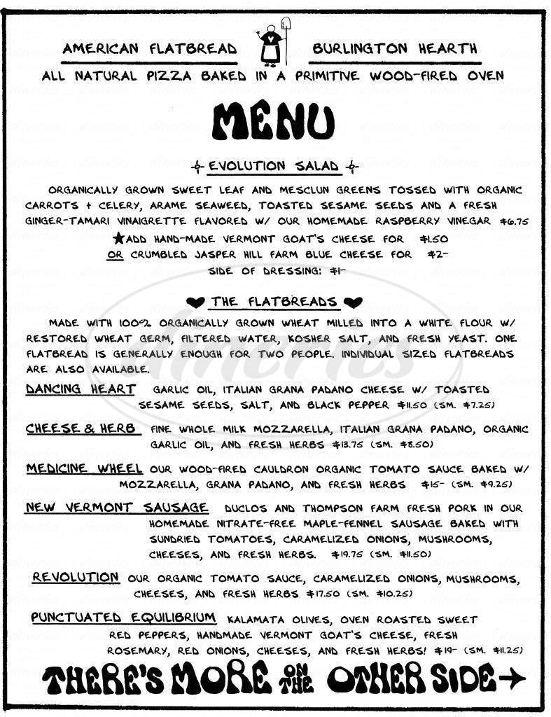 menu for American Flatbread