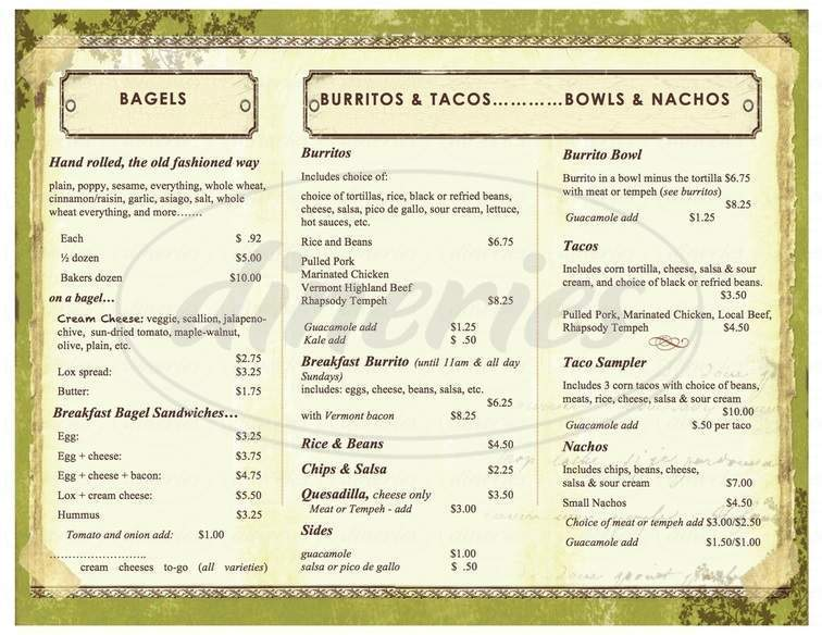 menu for Bagitos