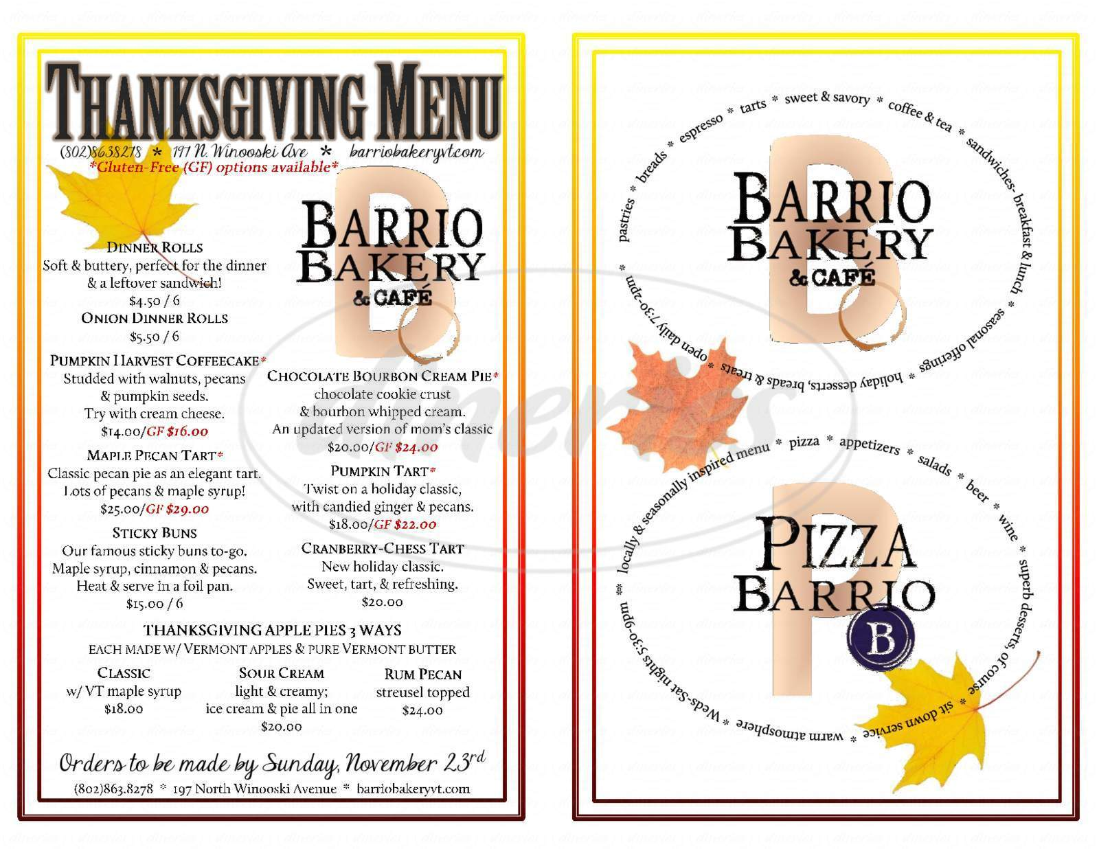 menu for Barrio Bakery & Cafe
