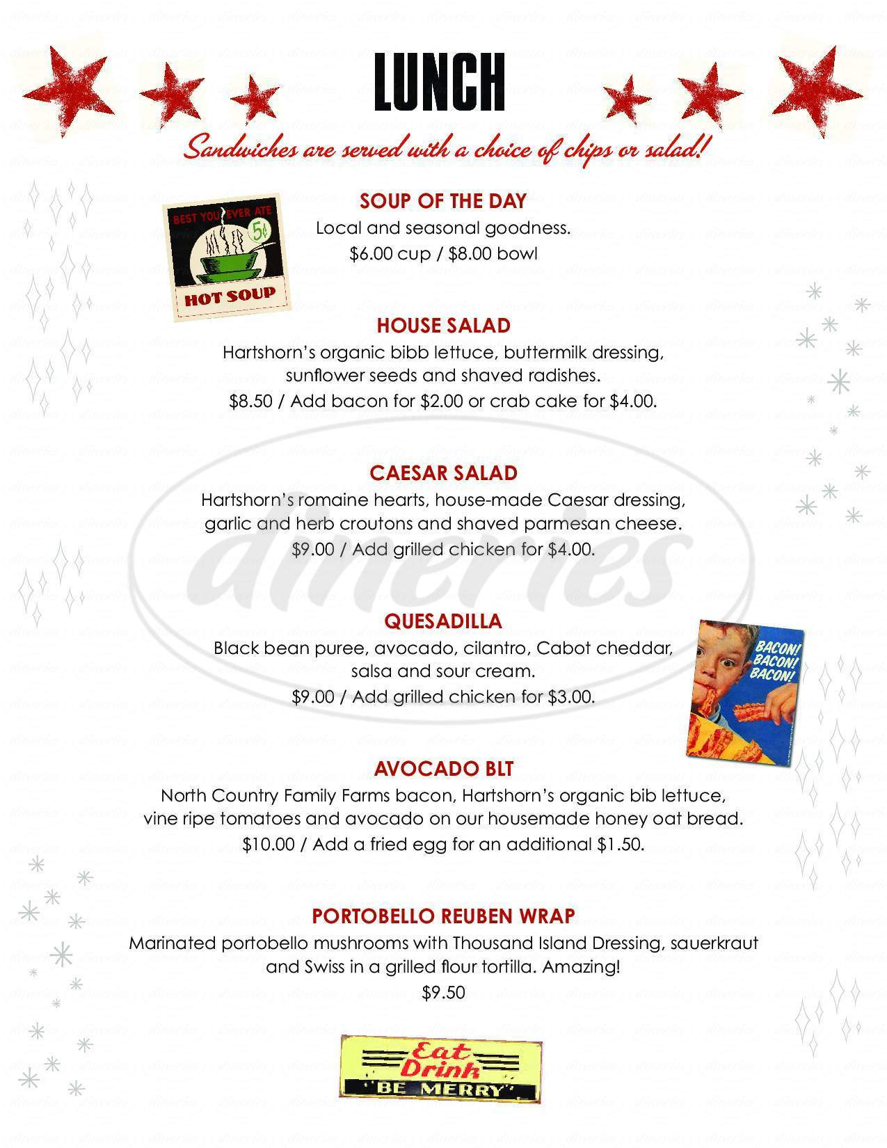 menu for Big Picture Theater and Cafe
