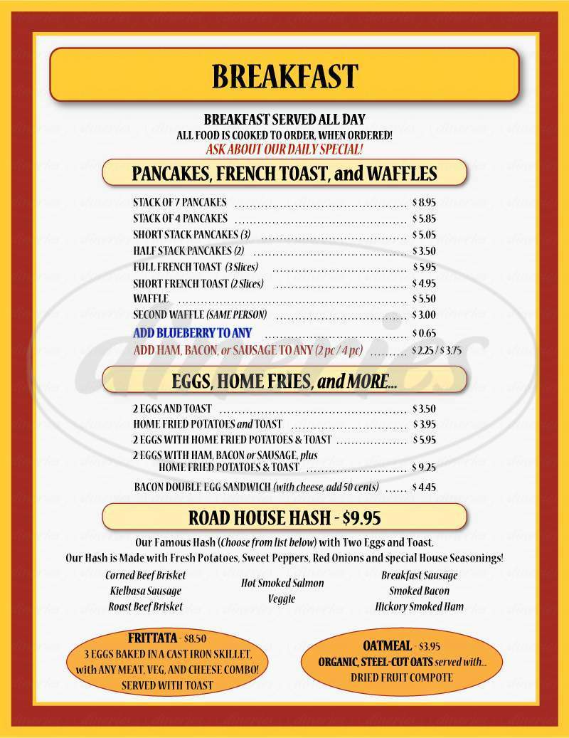 menu for Blanche & Bill's Pancake House