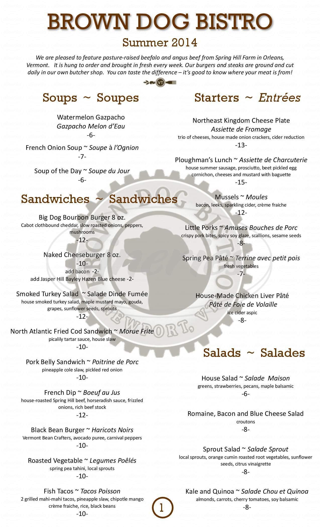 menu for Brown Dog Bistro