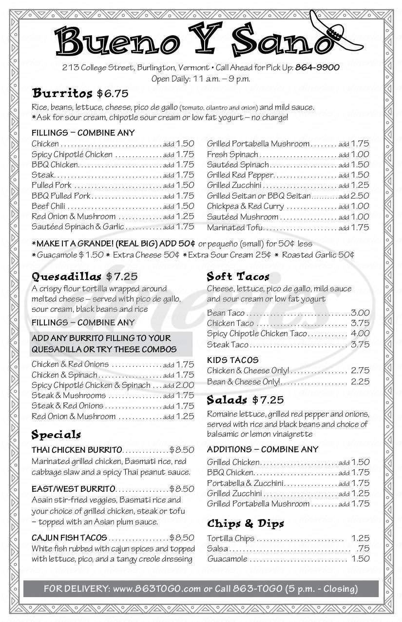 menu for Bueno Y Sano