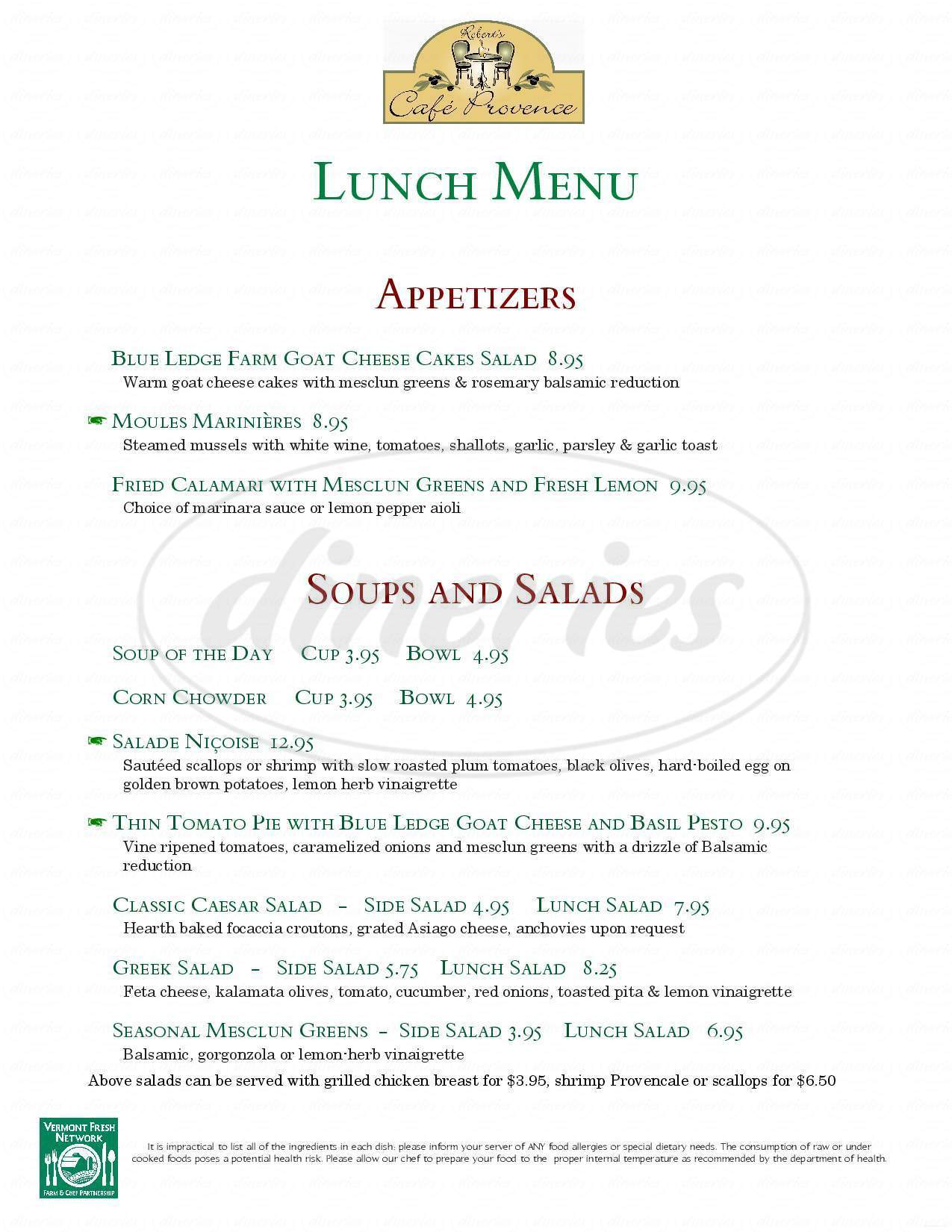 menu for Cafe Provence