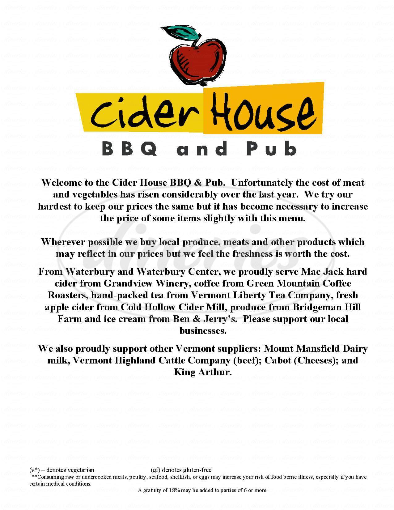 menu for Cider House BBQ and Pub