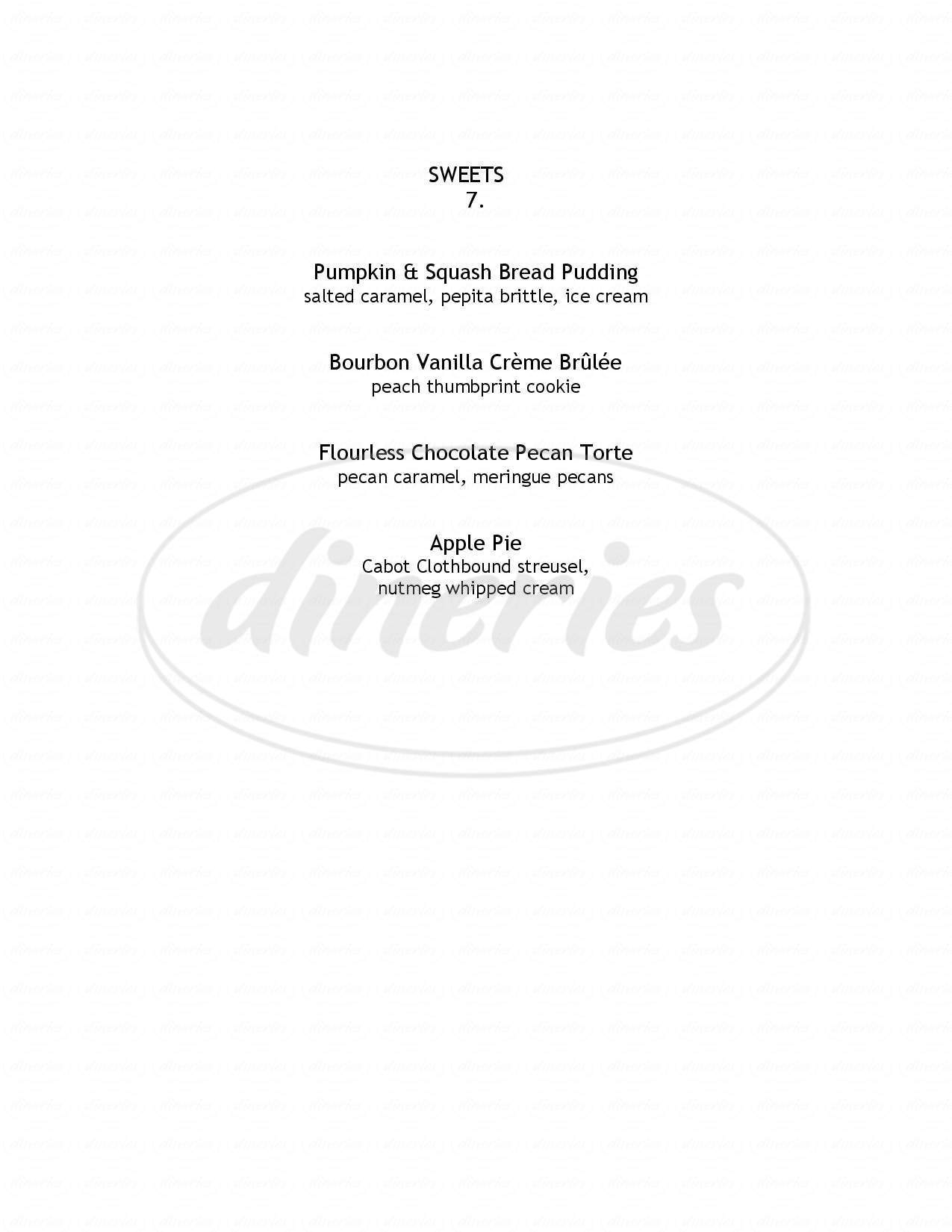 menu for Claire's Restaurant & Bar