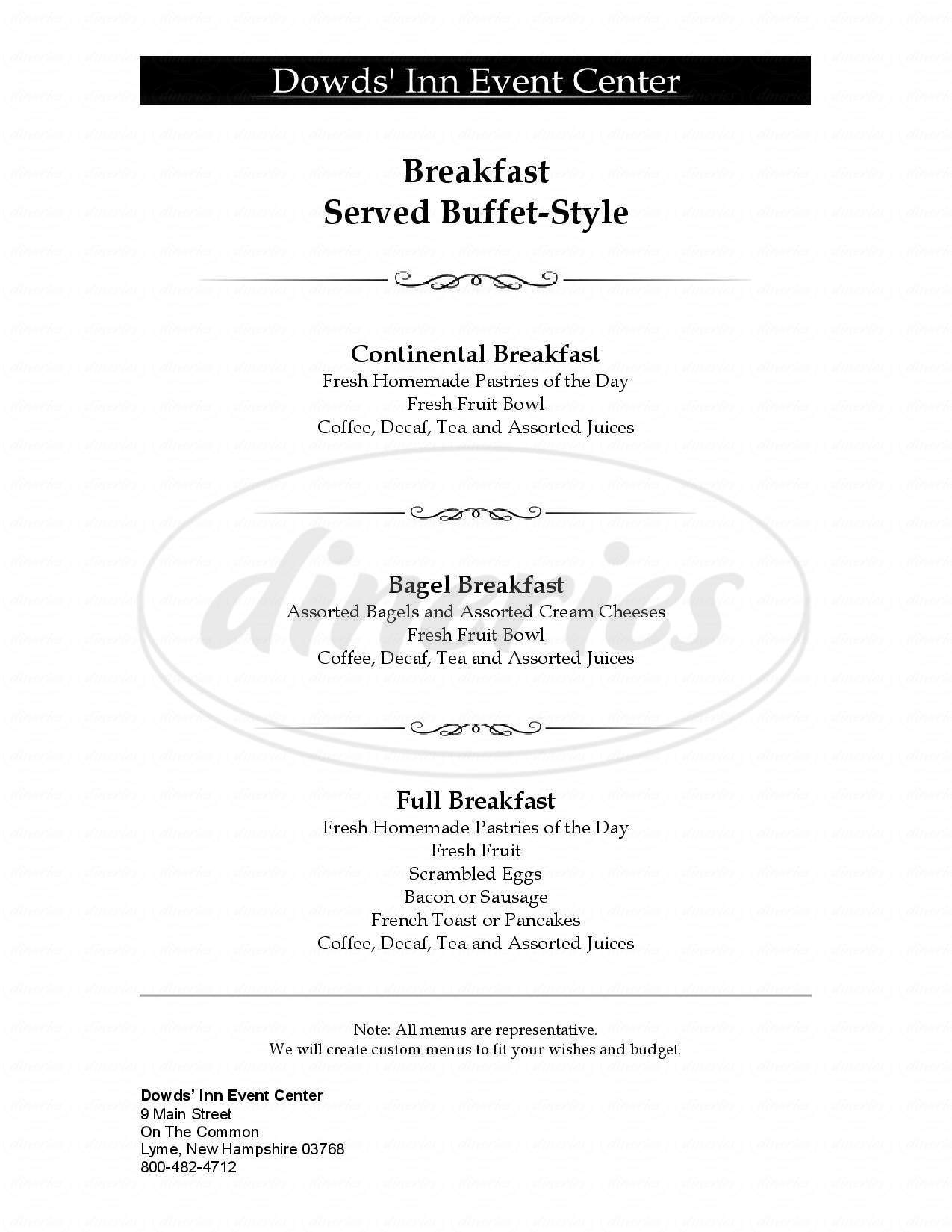 menu for Corners Inn the