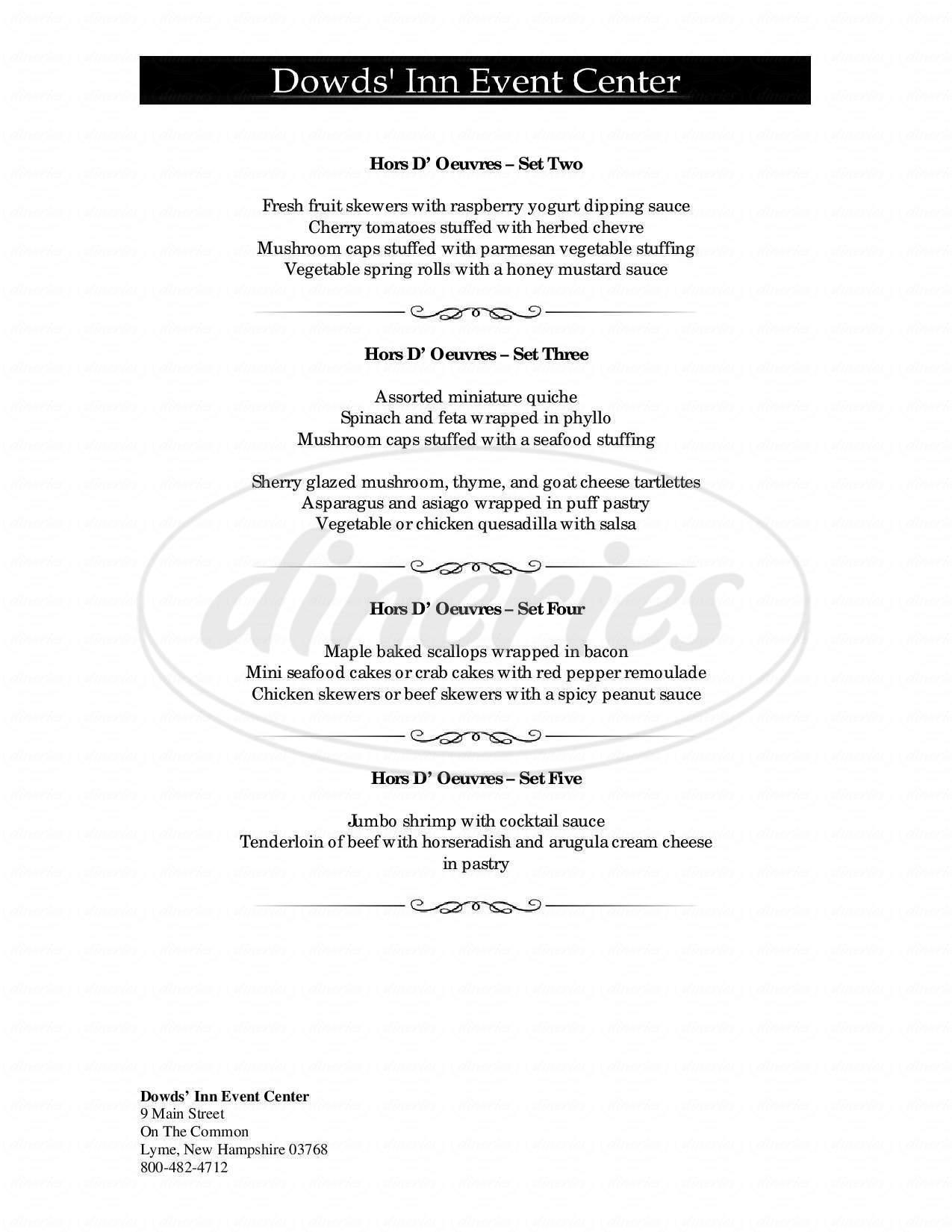 menu for Corners Inn the