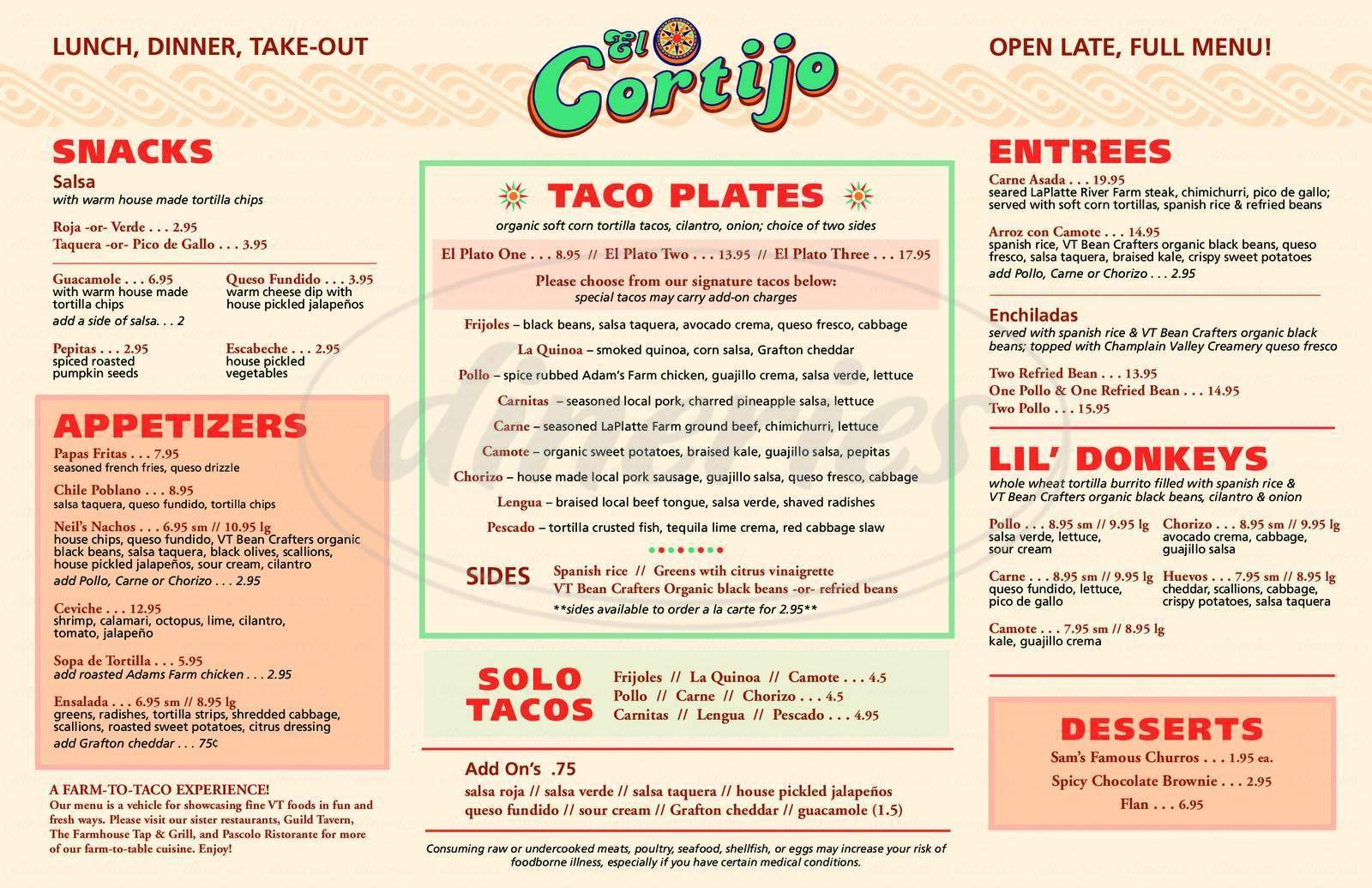 menu for El Cortijo Taqueria Y Cantina