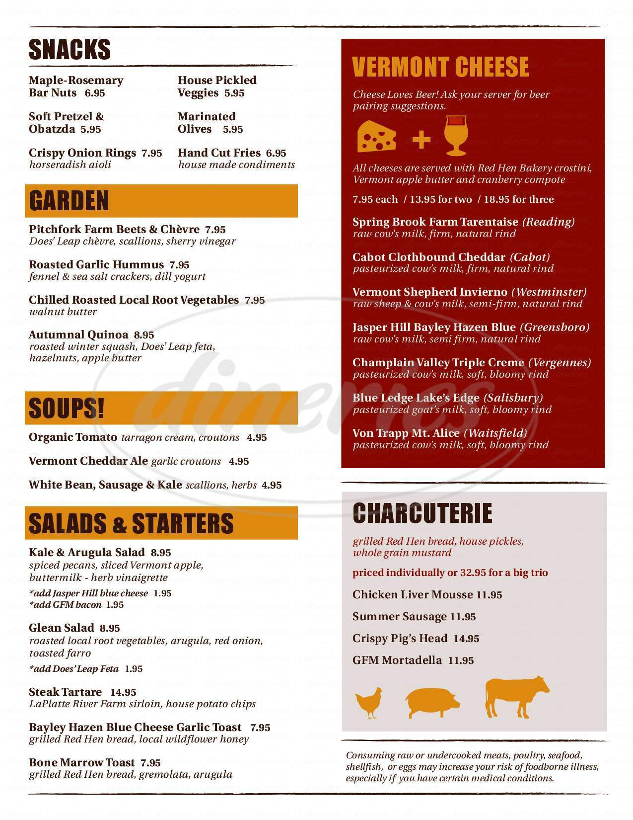 menu for The Farmhouse Tap & Grill