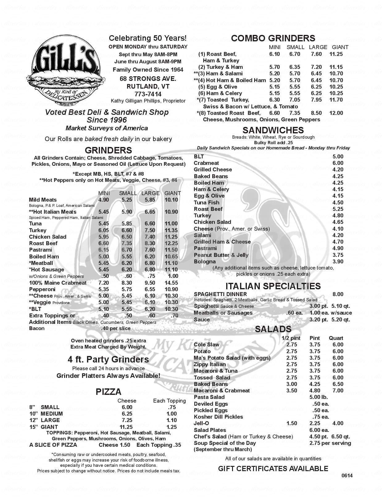 menu for Gill's Delicatessen