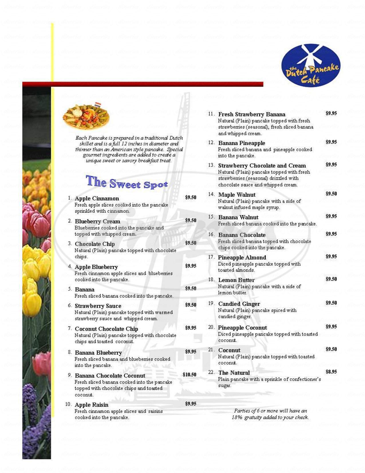 menu for Dutch Pancake Cafe