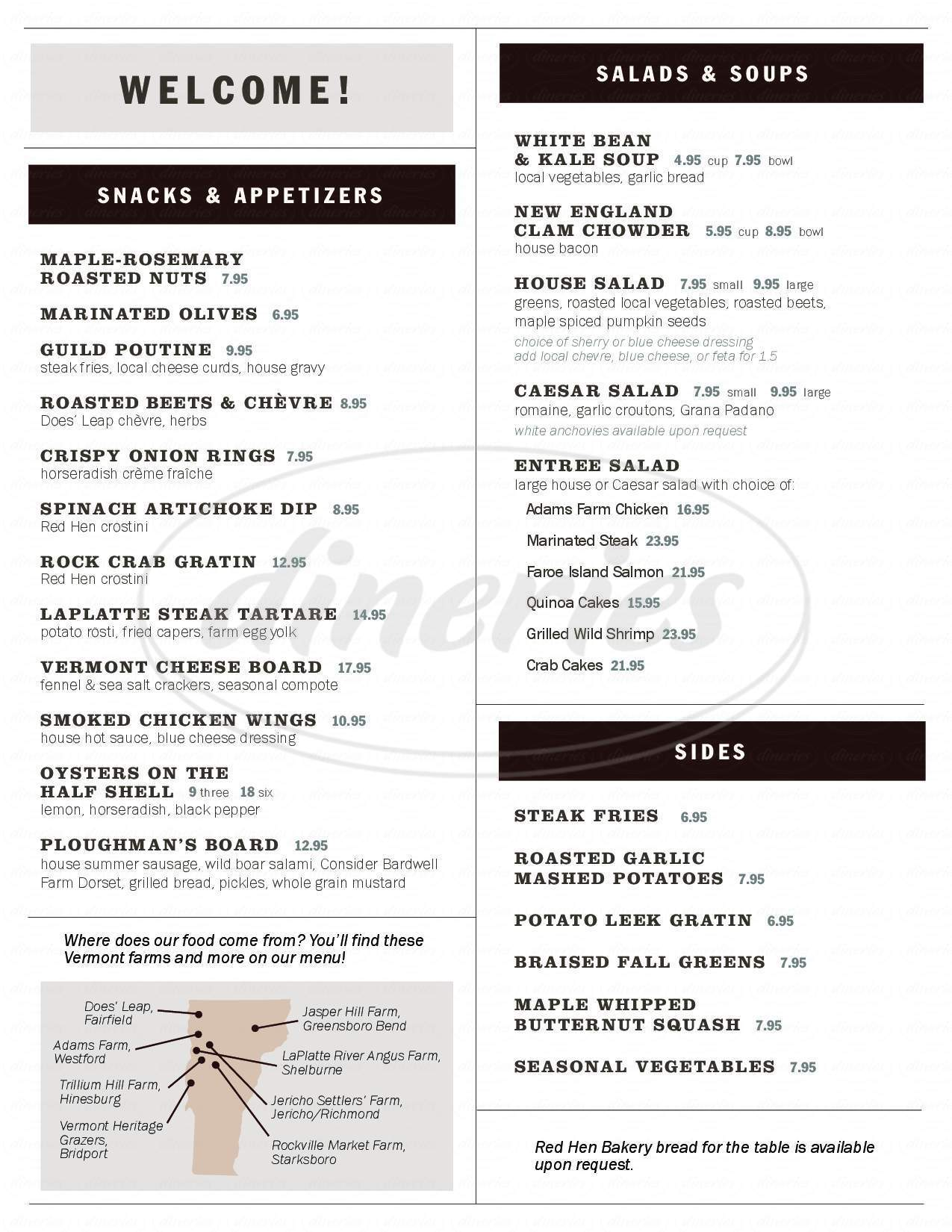menu for Guild Tavern