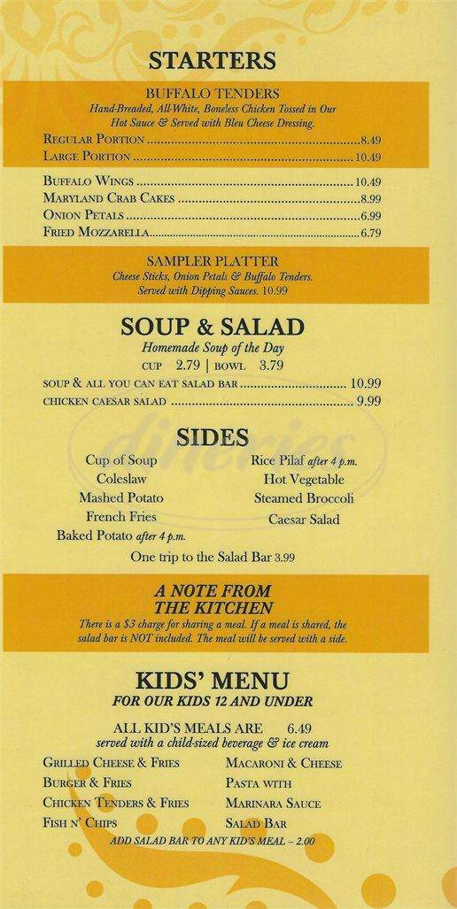menu for Happy Hour Restaurant