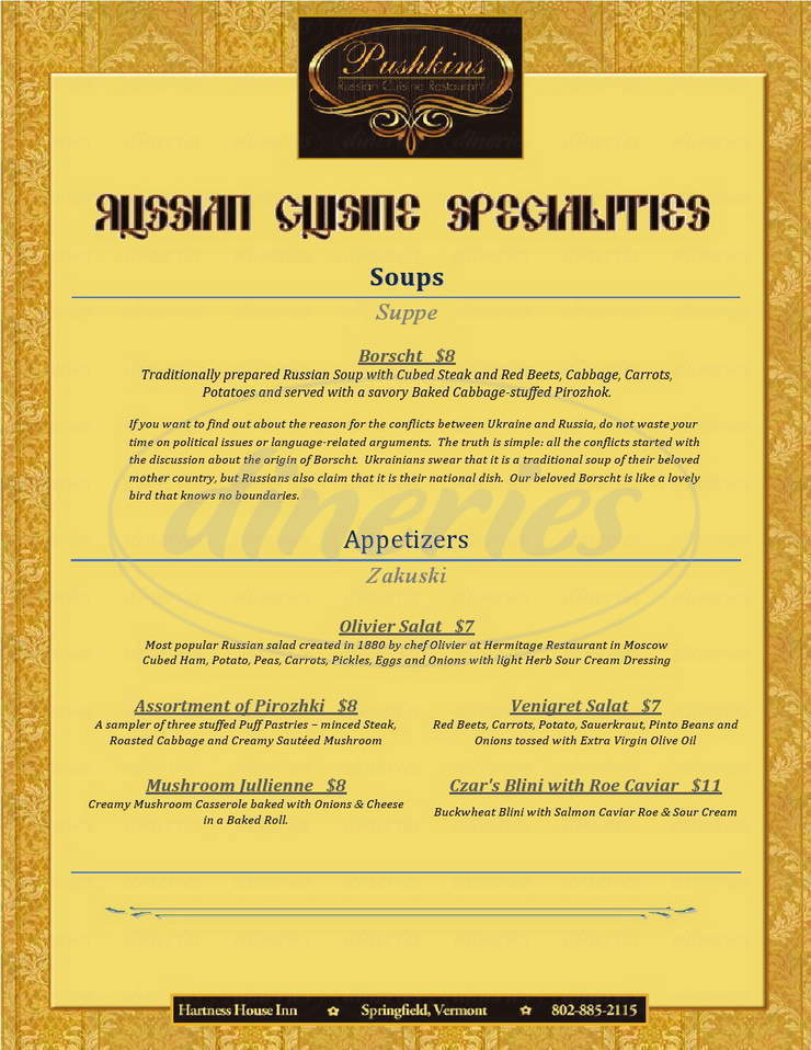 menu for Alexander Pushkin Restaurant