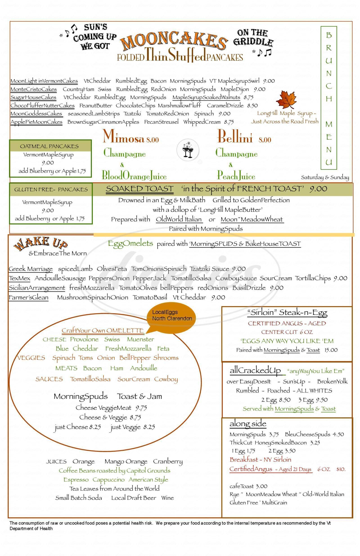 menu for Harvest Moon Cafe & BakeHouse