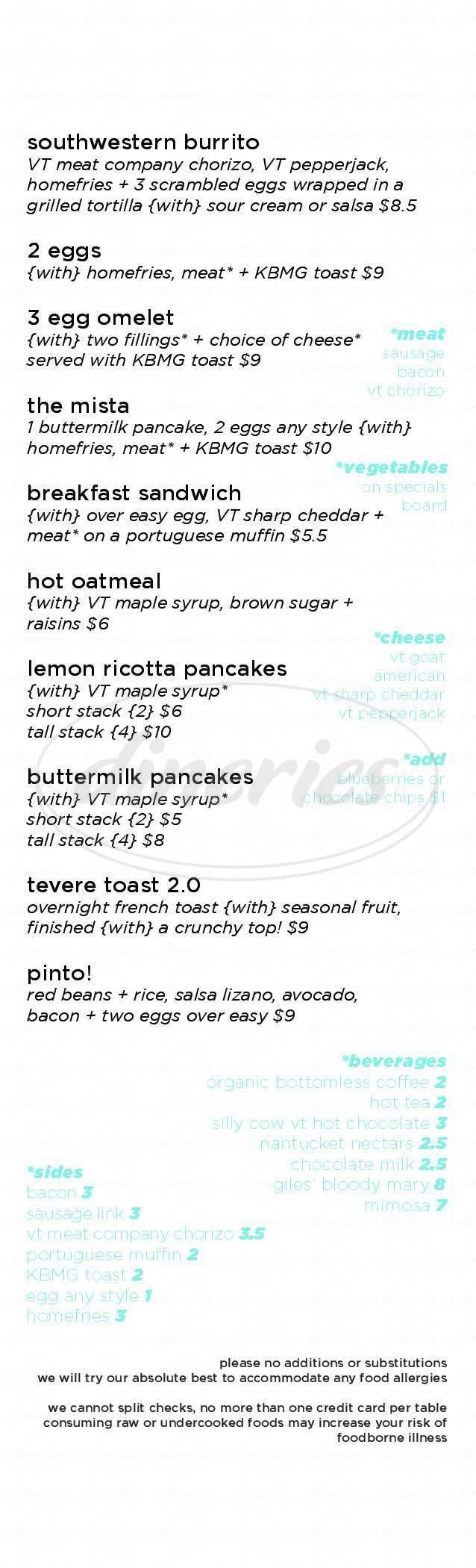menu for Hostel Tevere Restaurant & Bar