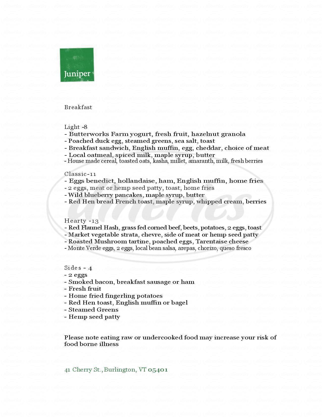 menu for Juniper Bar & Restaurant
