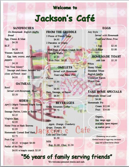 menu for Jackson's Lodge and Log Cabins