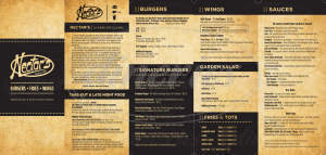 menu for Nectar's