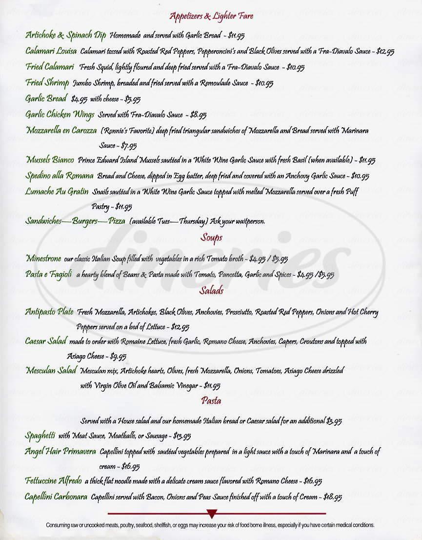 menu for Loretta's Fine Italian Cuisine