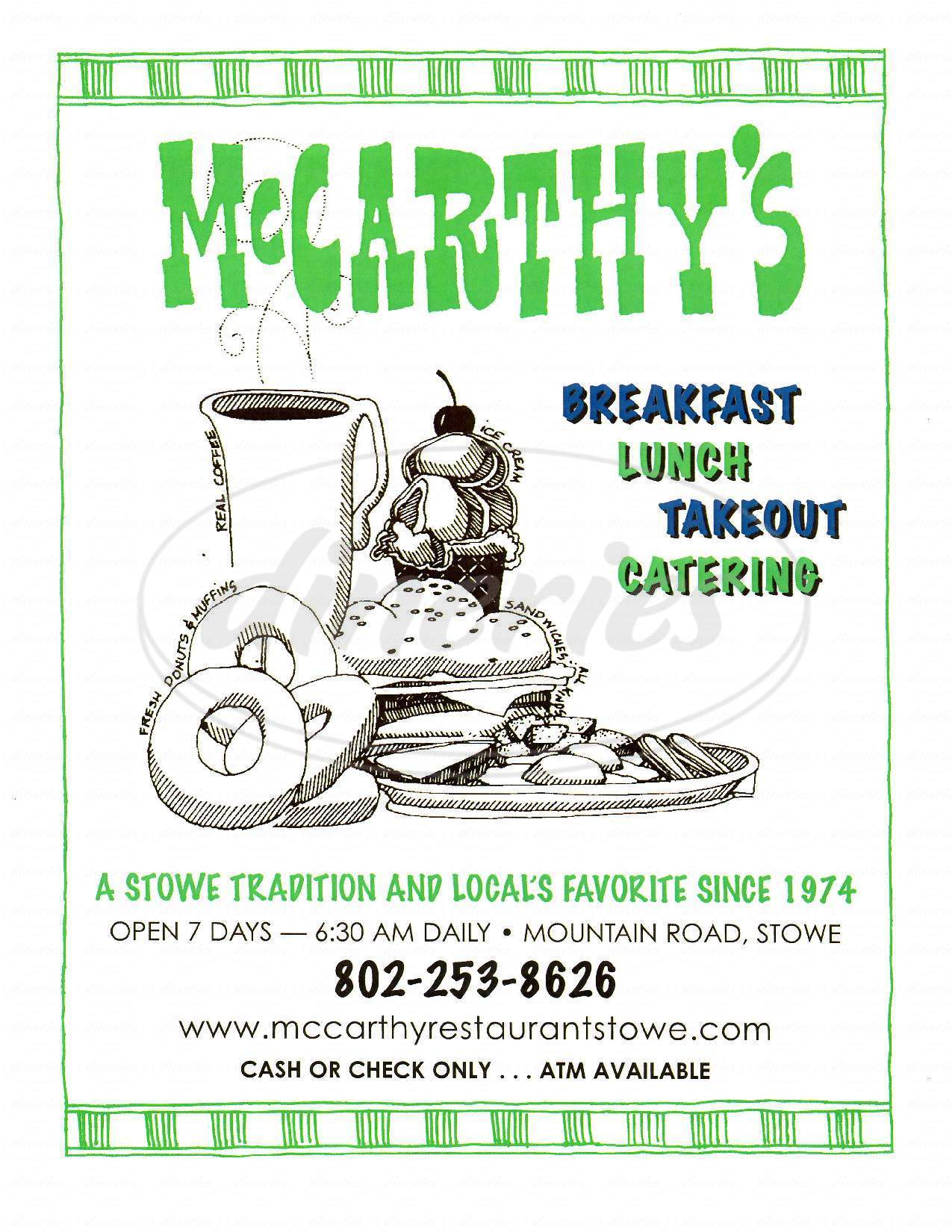 menu for McCarthy's Restaurant