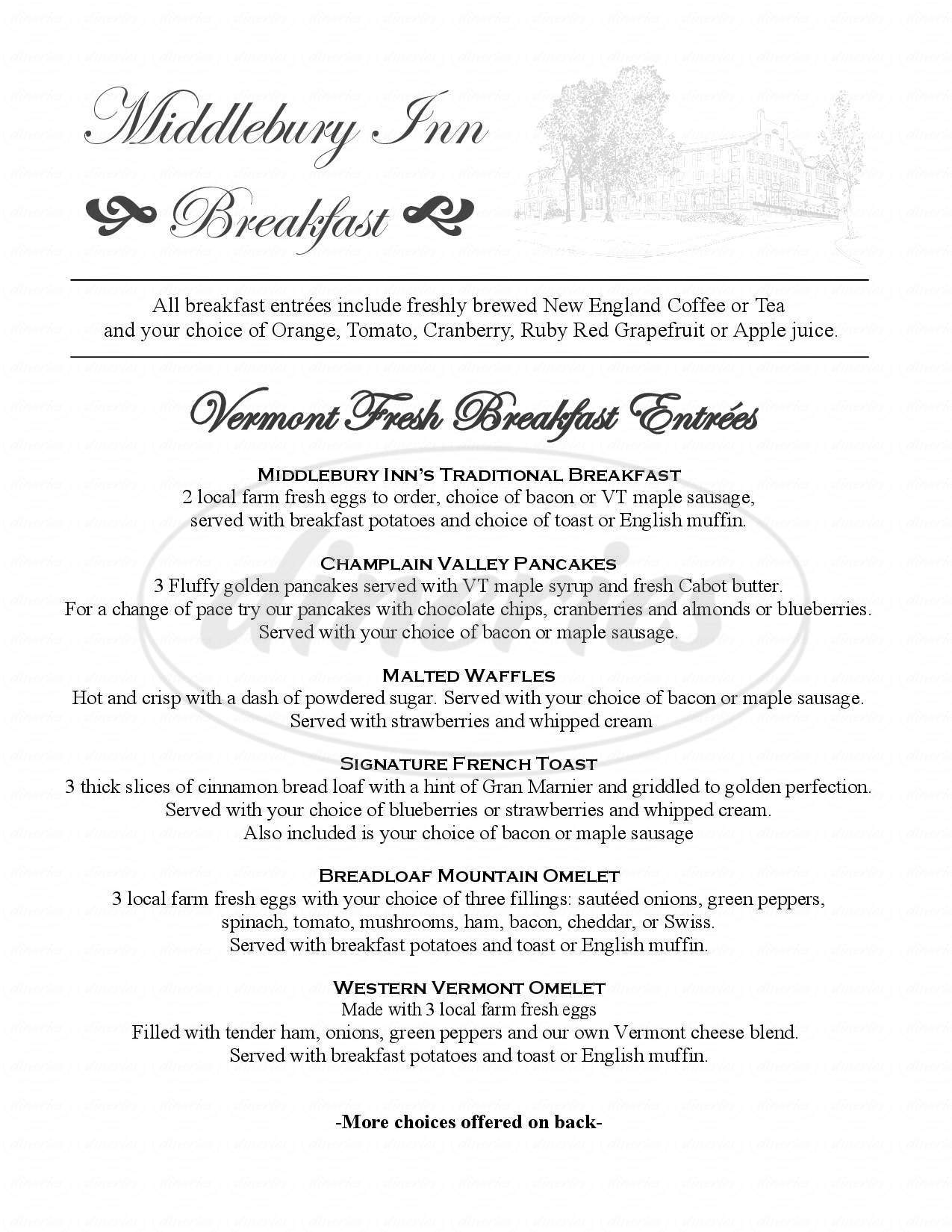 menu for Morgan's Tavern