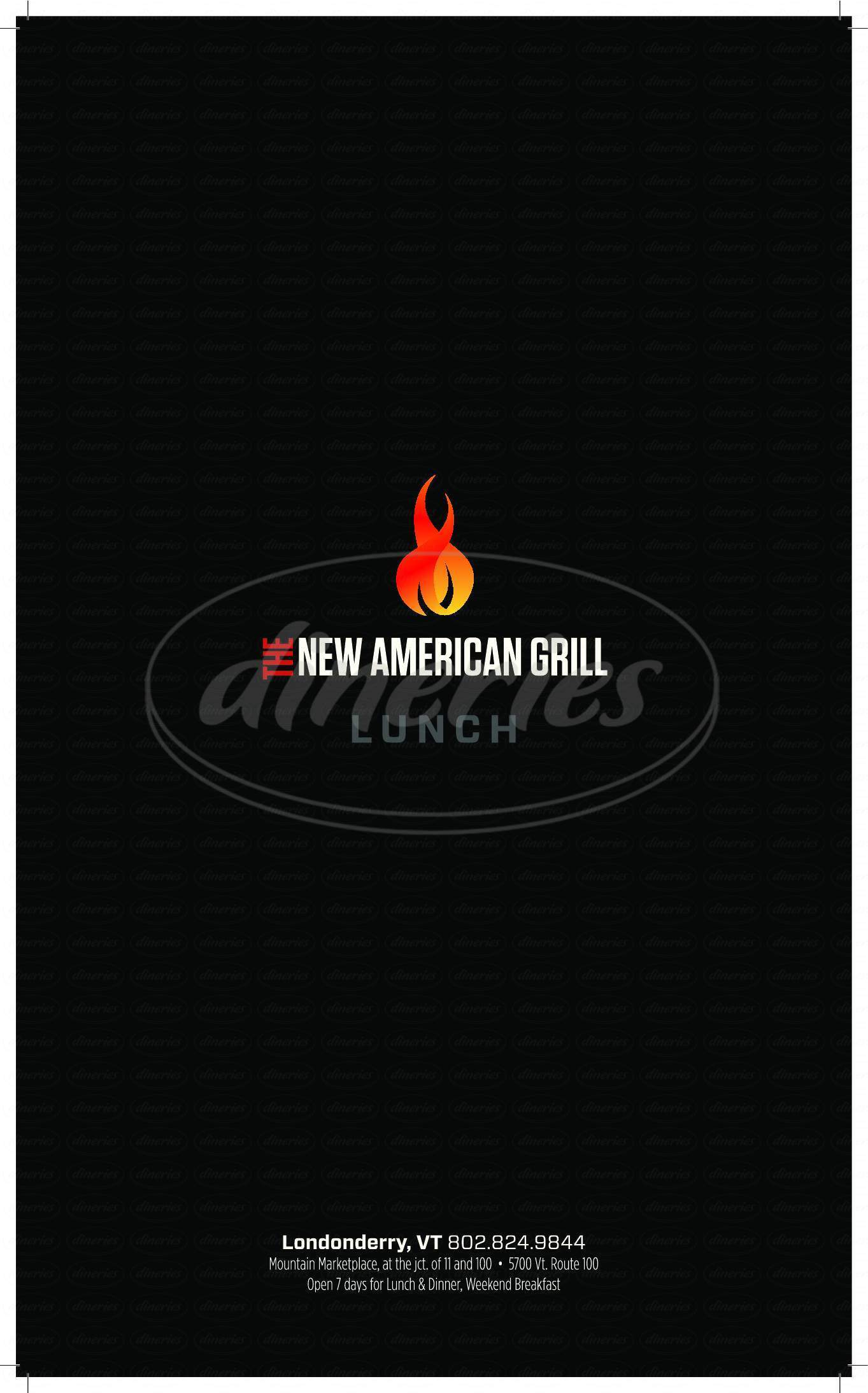 menu for The New American Grill
