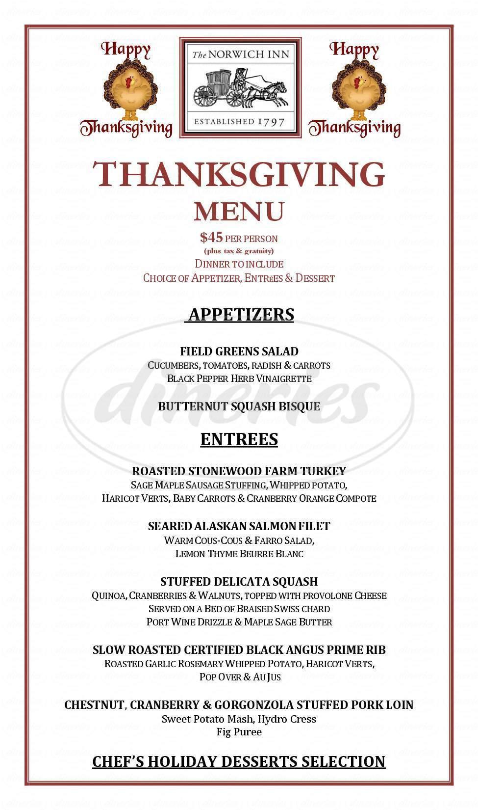 menu for Norwich Inn