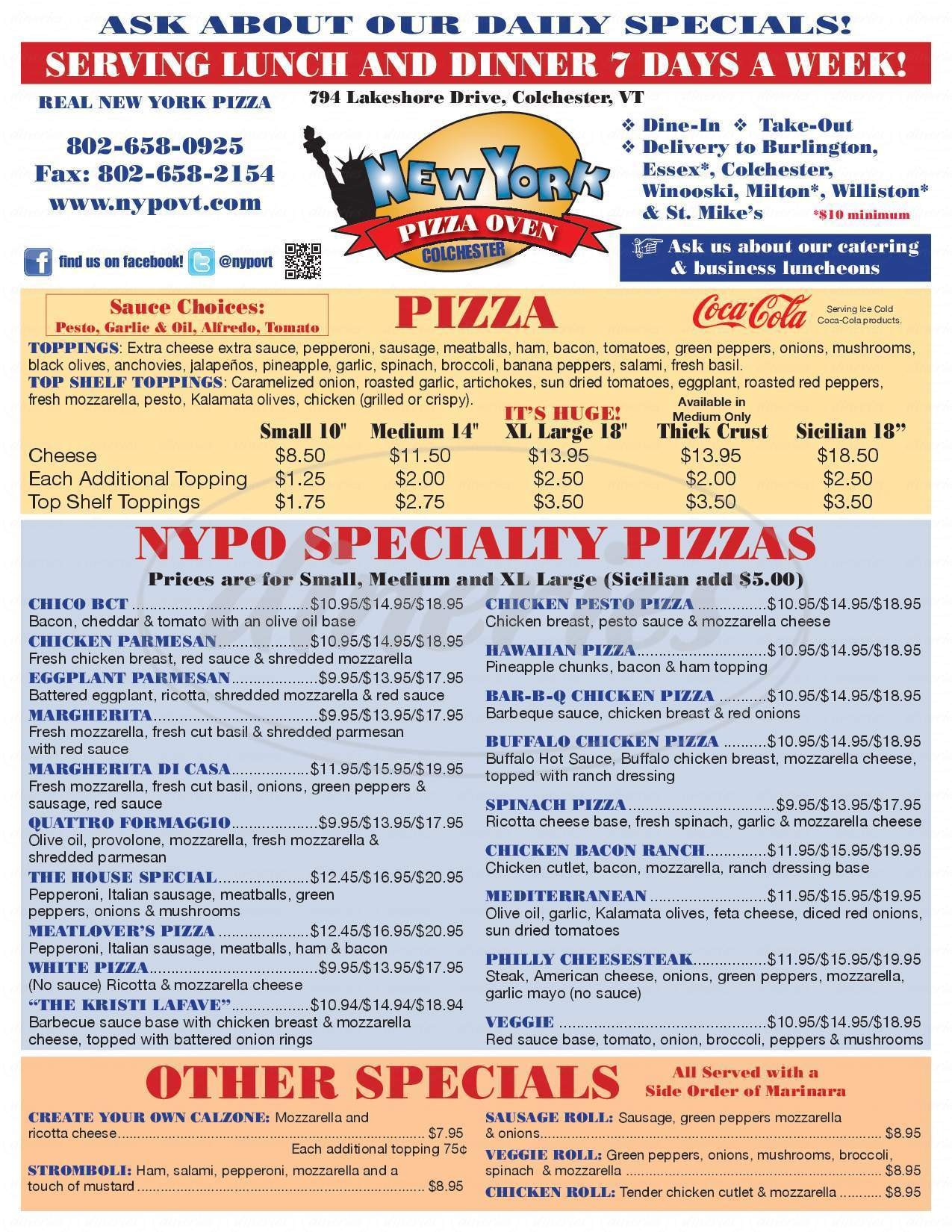 menu for New York Pizza Oven