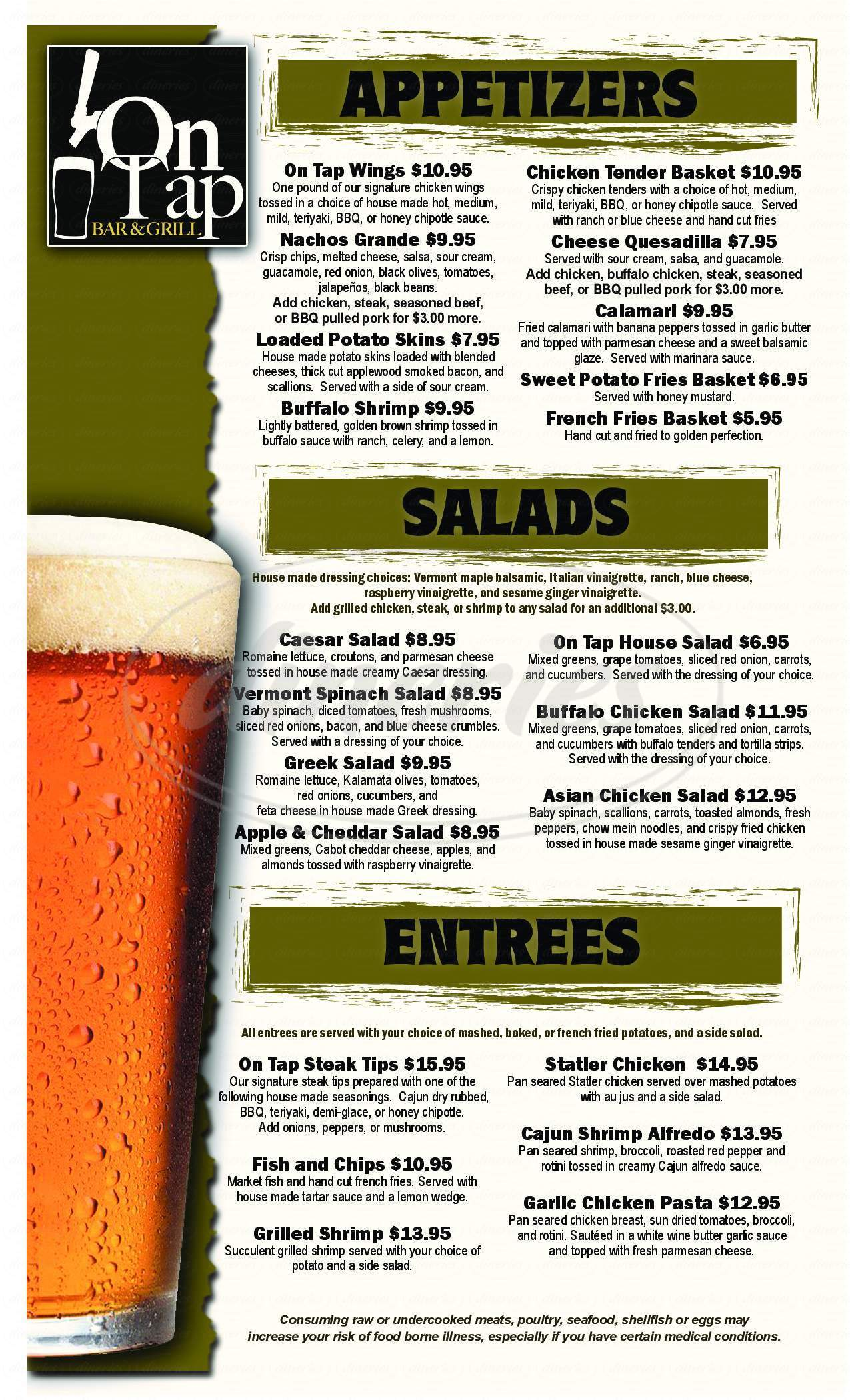 menu for On Tap Bar & Grill