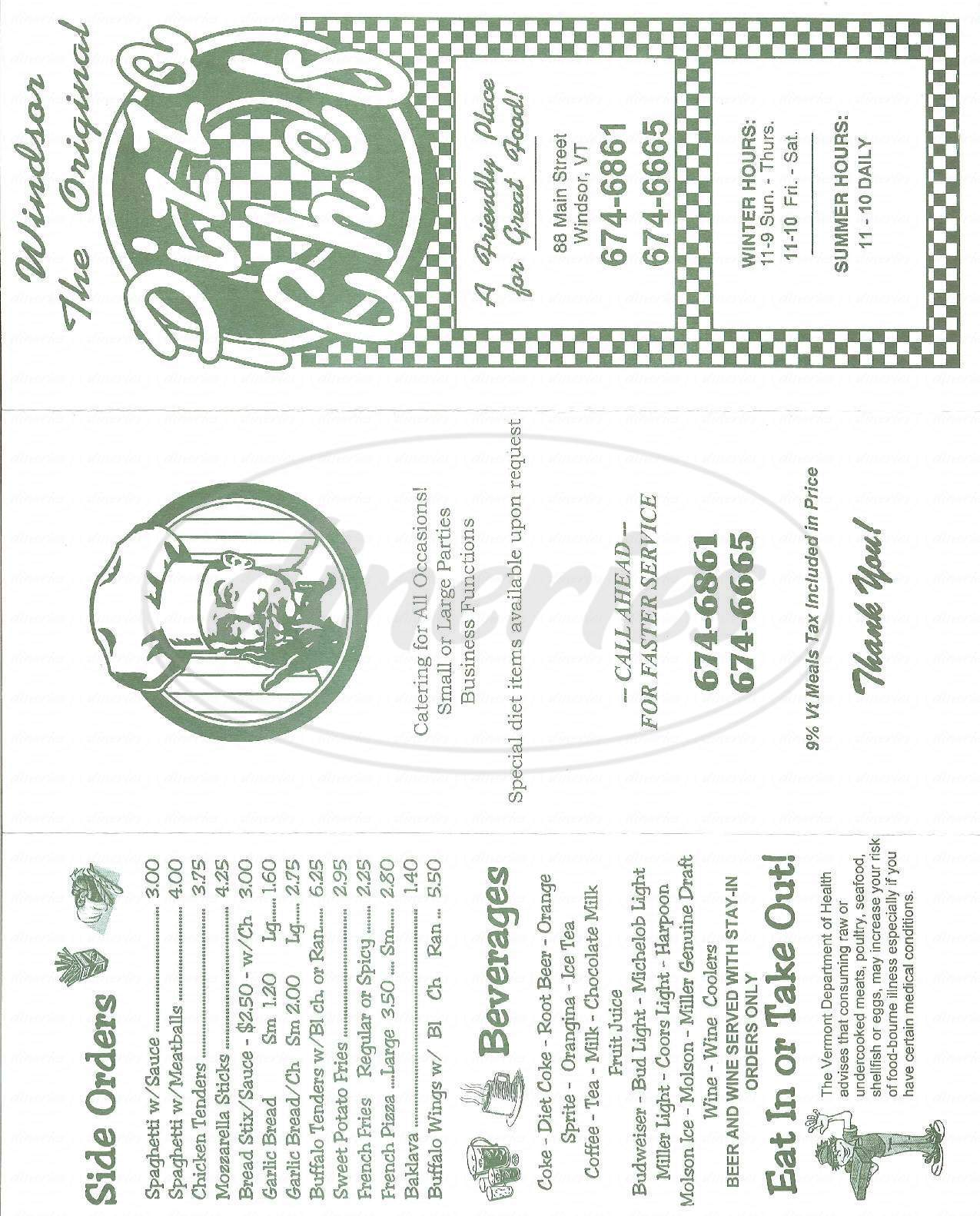 menu for Pizza Chef