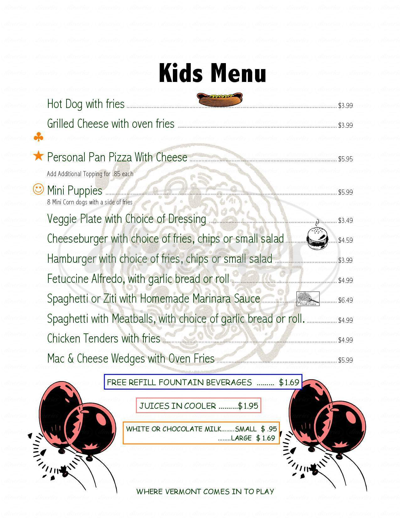 menu for Pizza Putt
