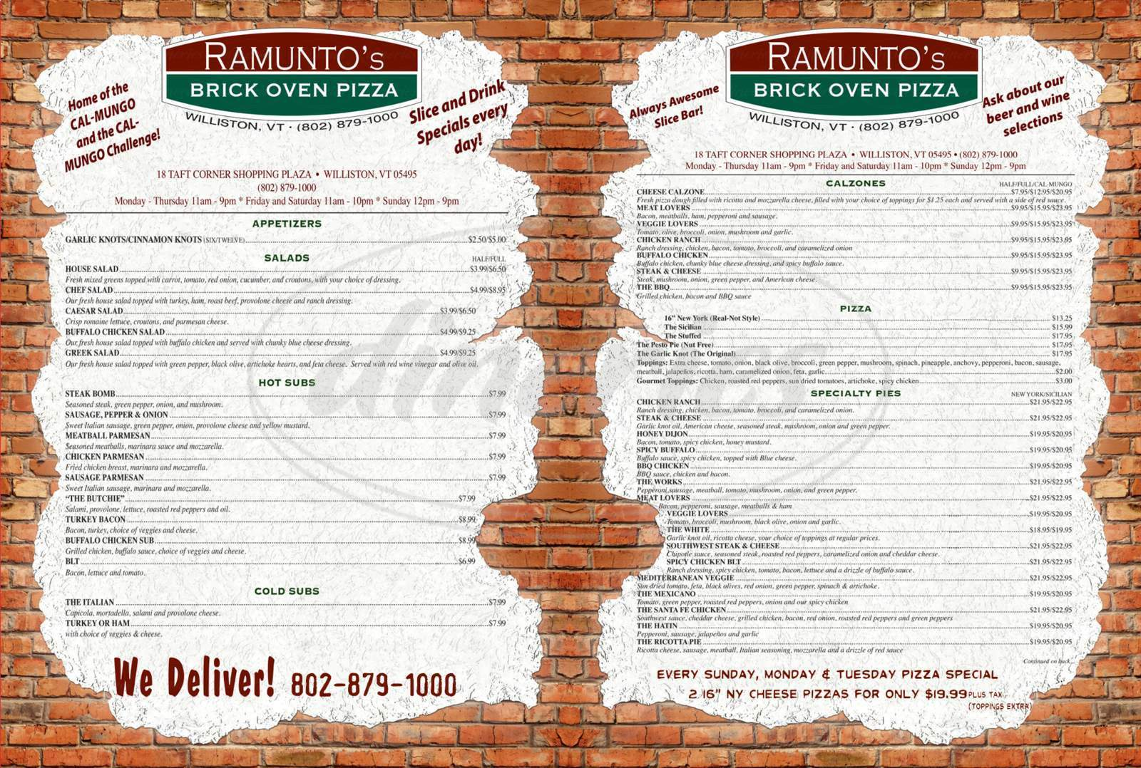 menu for Ramunto's Brick Oven Pizza