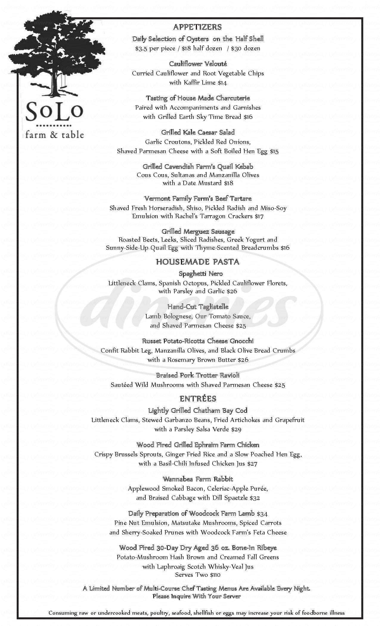 menu for SoLo Farm & Table