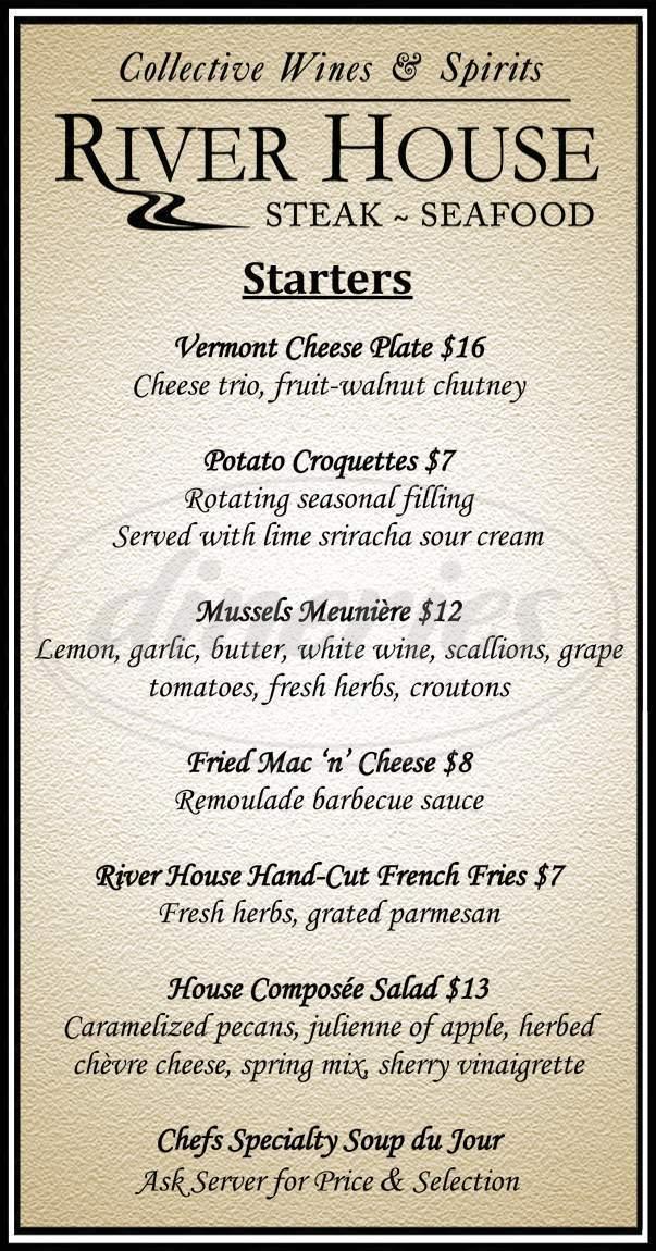 menu for The Stowe Inn & Tavern
