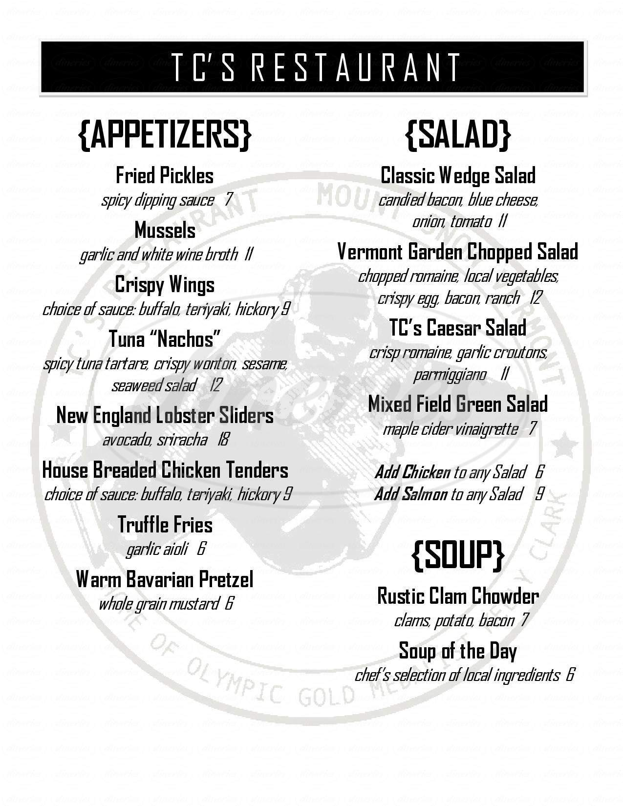 menu for T C's Family Restaurant