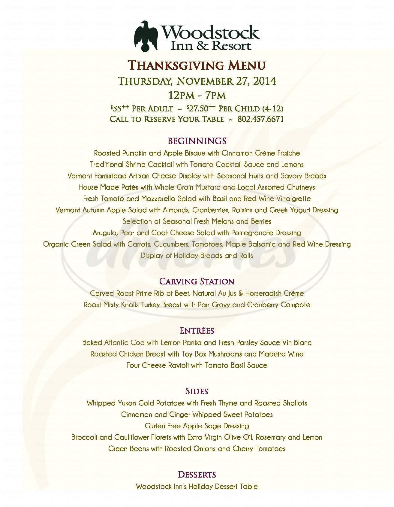menu for Woodstock Inn & Resort
