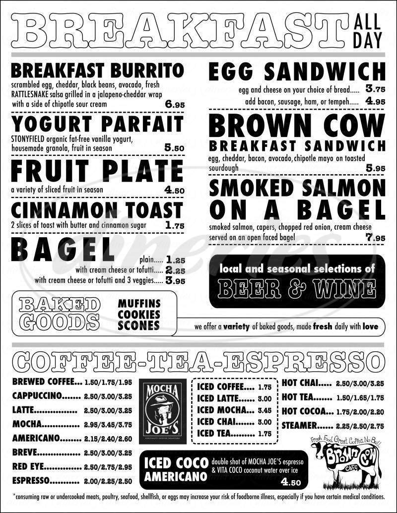 menu for The Brown Cow Cafe