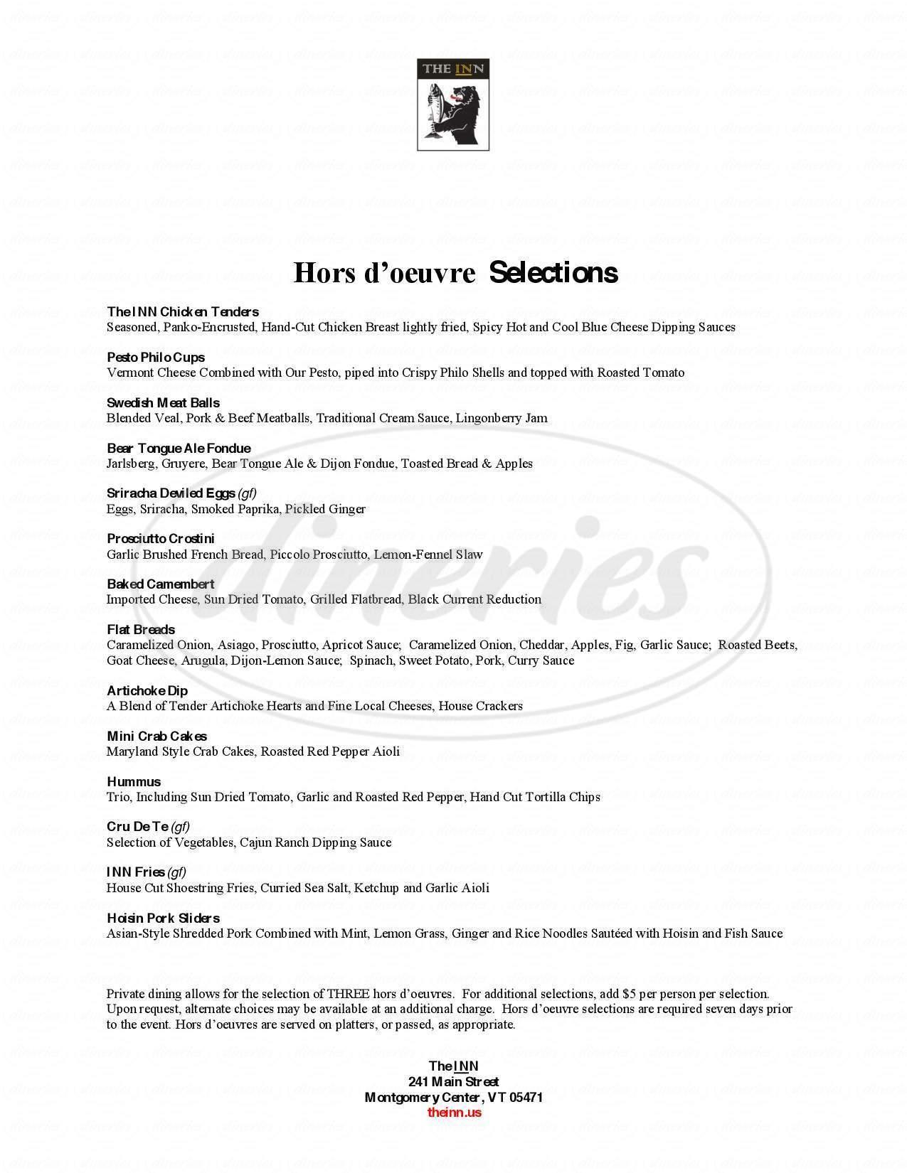 menu for The INN