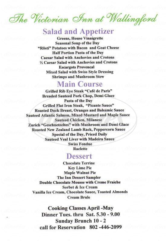 menu for Victorian Inn At Wallingford