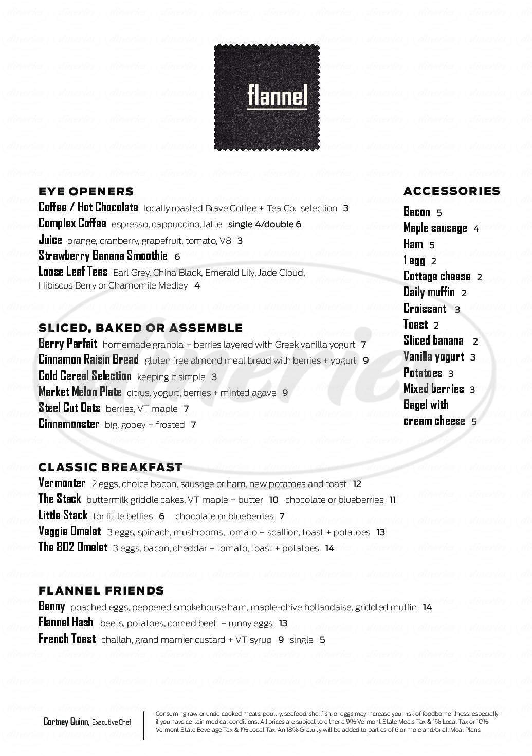 menu for Flannel