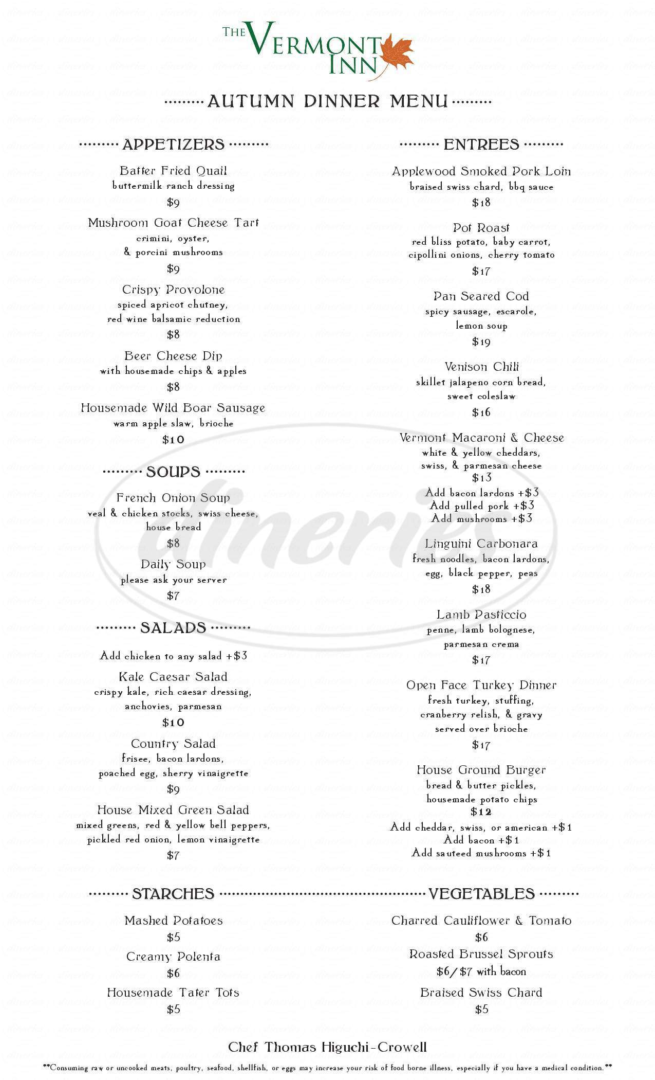 menu for The Vermont Inn