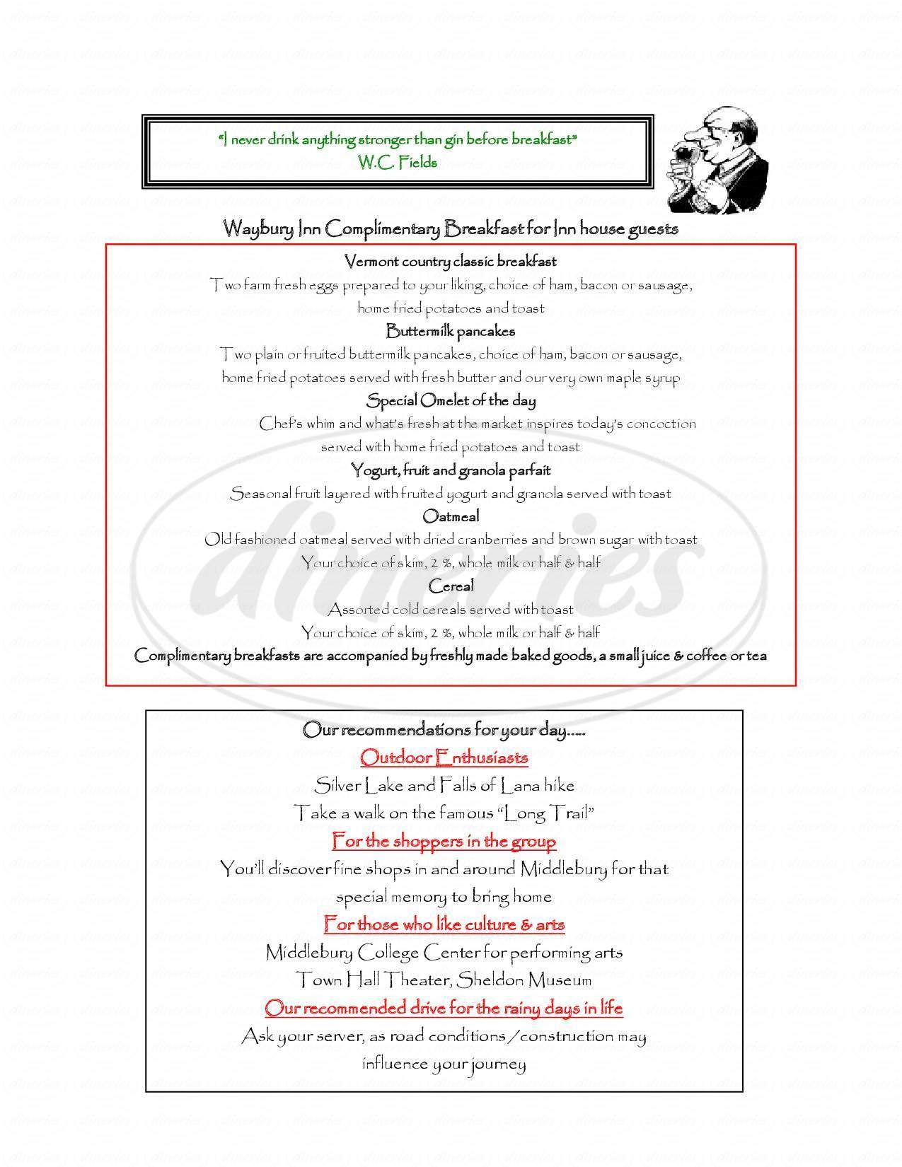 menu for Waybury Inn